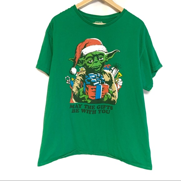 Star Wars Yoda Christmas green graphic tee large